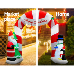 Jingle Jollys 3M Christmas Inflatable Archway with Santa Xmas Decor LED