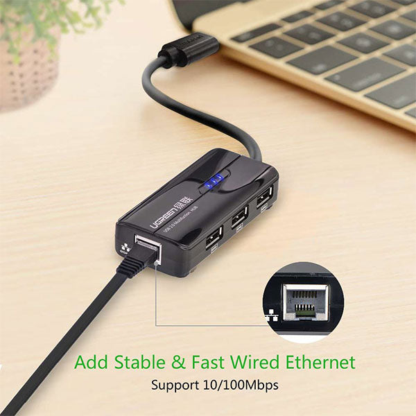UGREEN USB Type-C 3-Port Hub with Fast Ethernet (30289)