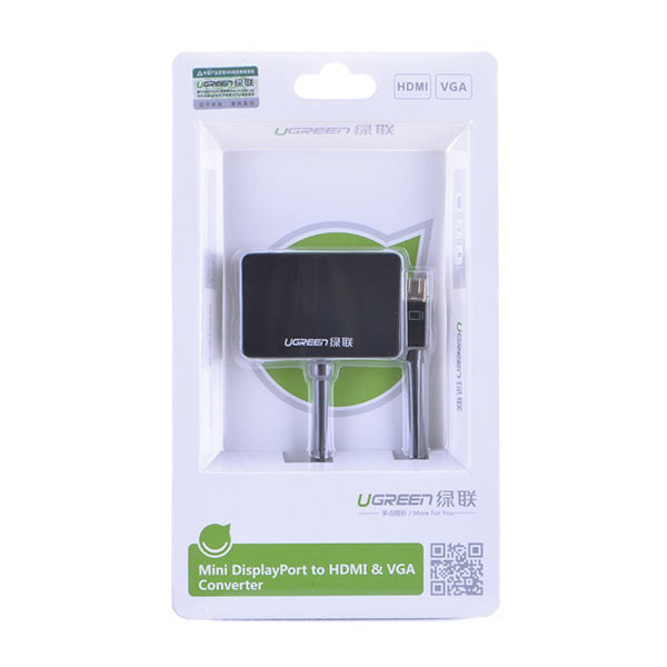 UGREEN Mini Display Port to HDMI & VGA Dual Converter Premium ABS case - Black (10439)
