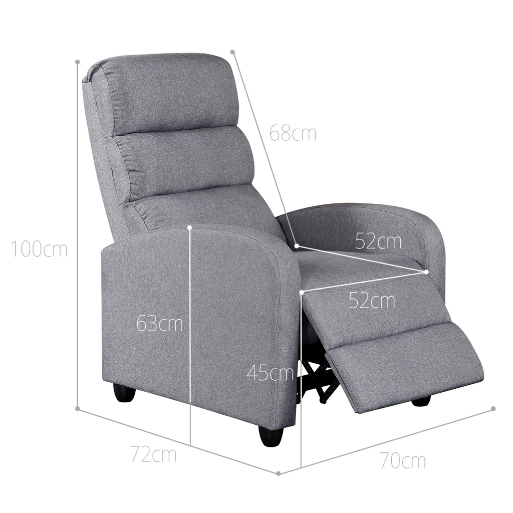 Luxury Fabric Recliner Chair - Grey