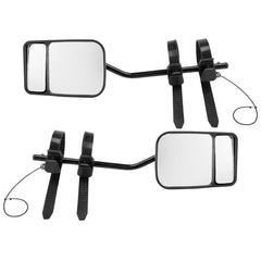 Pair TOWING MIRRORS PAIR UNIVERSAL MULTI FIT STRAP ON TOWING CARAVAN 4X4 TRAILER