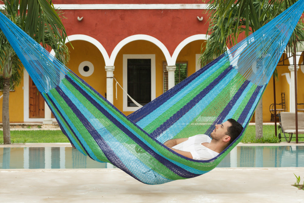 Queen Size Outdoor Cotton Hammock in Oceanica