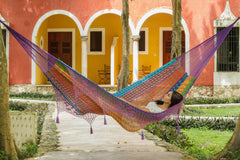 Deluxe Outdoor Cotton Mexican Hammock  in Colorina Colour