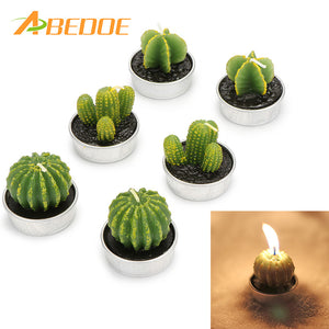ABEDOE 6PCS Creative Home Decor Cactus Candle Table Tea Light Garden Mini Wax Green Candles For Wedding Birthday Decoration
