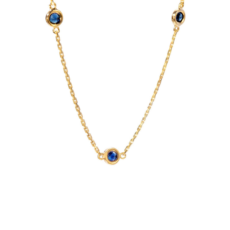 One Of A Kind Drop Necklace - Solid Gold/Sapphires