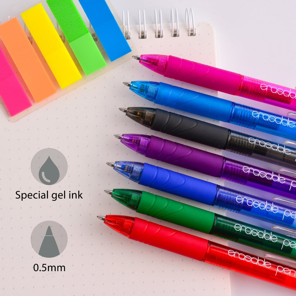 ParKoo Pens & Refills ParKoo 7 Colors Retractable Erasable Gel Pens 0.5 mm, No Need for White Out