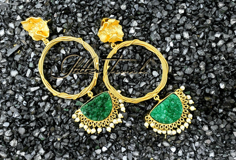 Green Druzy Statement Earrings