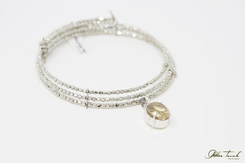 Artisan Necklace Selene Slip-On Silver Choker with Quartz
