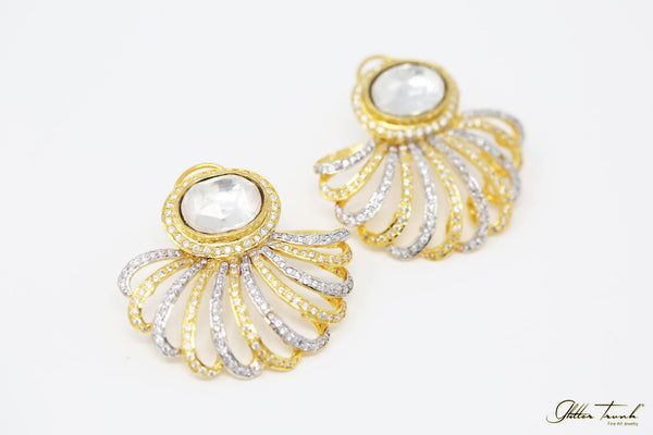 Bejeweled Earrings Halle Gold and Diamond Studded Earrings