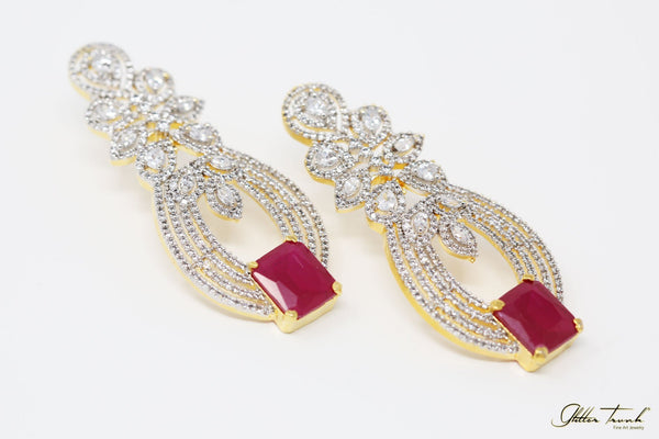 Bejeweled Earrings Marilyn Diamond Studded Red Long Earrings