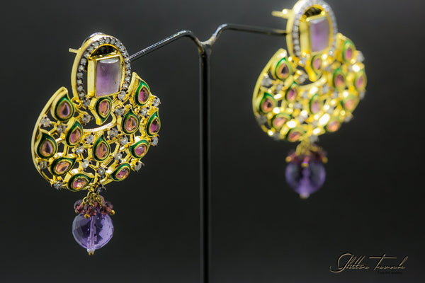 Bejeweled Earrings Purple Passion