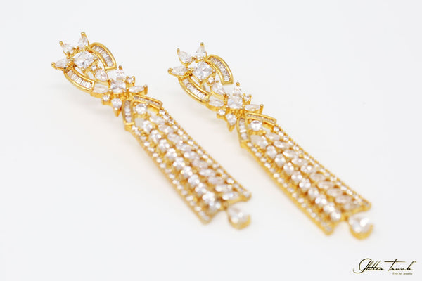 Bejeweled Earrings Raquel Gold and Diamond Long Earrings