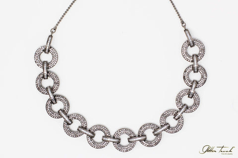 Bejeweled Necklace Kate Stone Studded Gunmetal Necklace