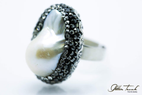 Bejeweled Ring Baroque Pearl Ring