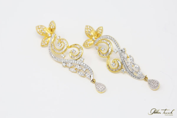 Bridal Earrings Penélope Gold and Silver Elegant Earrings