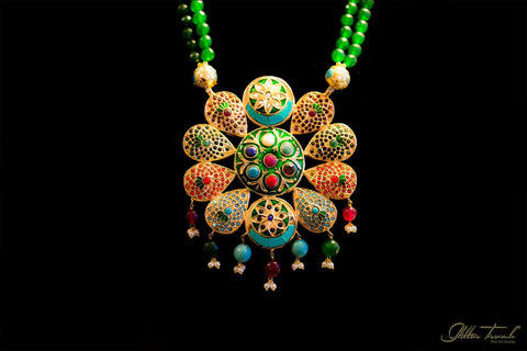Bridal Necklace Long Royal Necklace Green