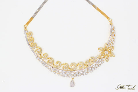 Bridal Necklace Penélope Gold and Silver Elegant Necklace