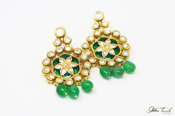 Empress Earrings Elizabeth Gold and Emerald Kundan Earrings