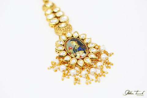 Empress Maang Tikka Umrao Meenakari and Kundan Maang Tikka with Pearls