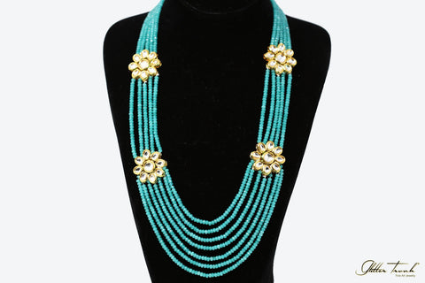 Empress Necklace Sophia Aquamarine Kundan Long Necklace