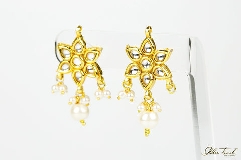 Fusion Earrings Floral Studs with Pearls