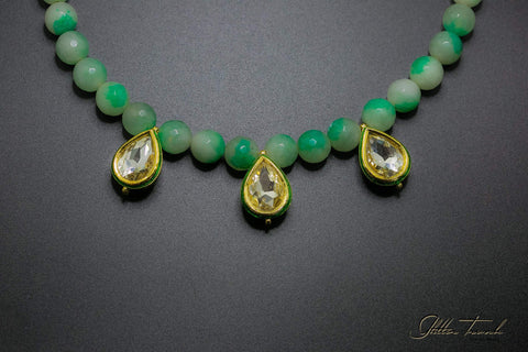Fusion Necklace Semi-Precious Green Waves Adjustable Necklace
