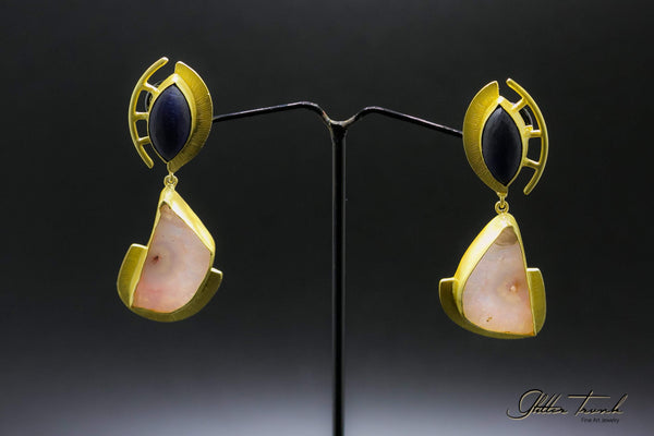 Voguish Earrings Black Pink and Gold Long Earrings