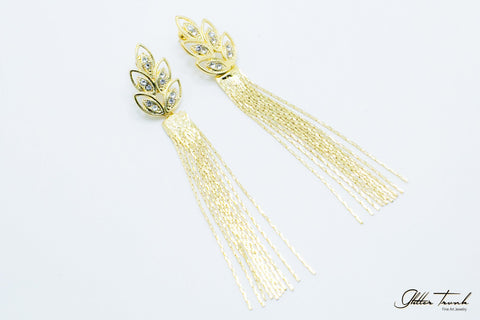 Voguish Earrings Leafy Tassel