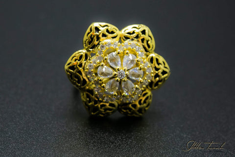 Flower Ring with Semi-Precious Stones