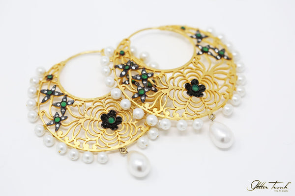 Wearable Art Earrings Mallika Gold and Pearl Hoops