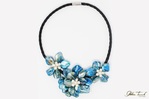 Wearable Art Necklace Catherine Floral Mother or Pearl Necklace