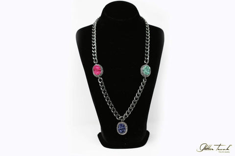 Wearable Art Necklace Emanuela Bold and Beautiful Long Necklace with Druzy