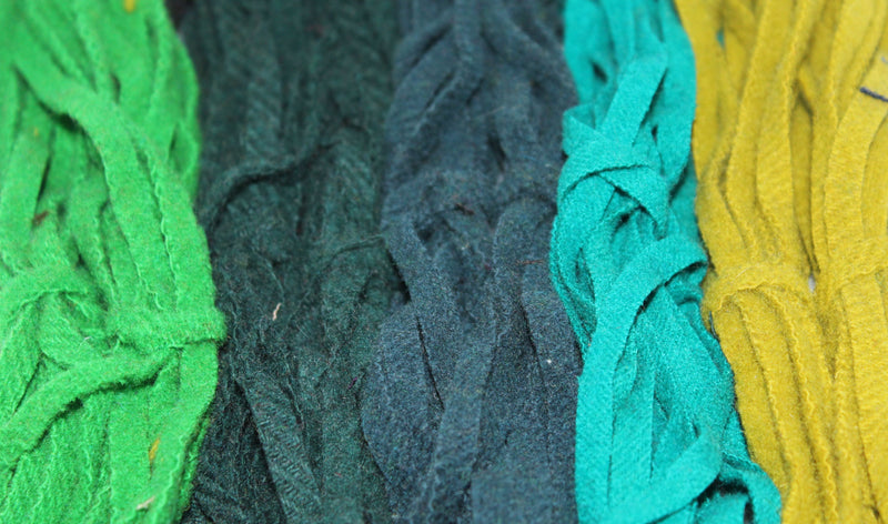 100 Assorted Green #8 Wool Strips for Rug Hooking
