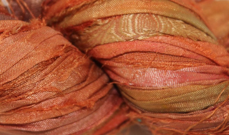 Recycled Sari Silk Ribbon - Pumpkin Spice