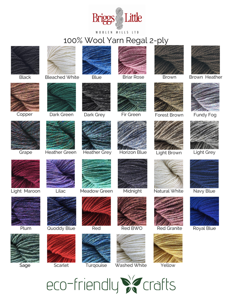 Briggs and Little 100% Wool Yarn - Regal 2-Ply for Knitting, Rug Hooking, and Oxford Punch Needle