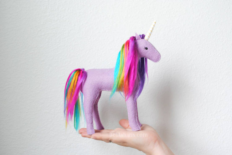 Felt Unicorn Hand Sewing Kit - Lavender Rainbow