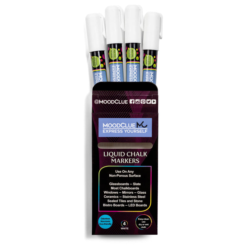 MoodClue - White Liquid Chalk Marker - Set of 4