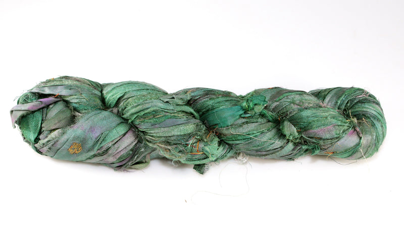 Recycled Sari Silk Ribbon - Forest Green
