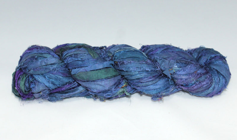 Recycled Sari Silk Ribbon- Deep Blue