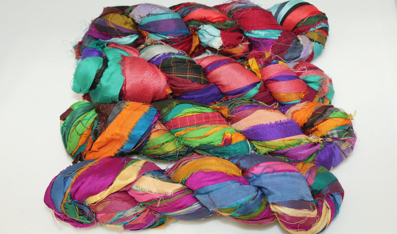 Recycled Sari Silk Ribbon - Jewel Tone Multicolor