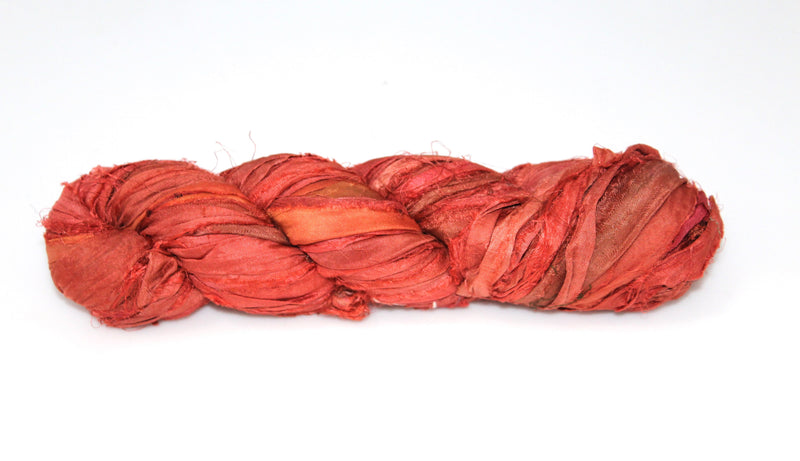 Recycled Sari Silk Ribbon - Rust