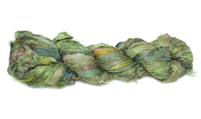 Recycled Sari Silk Ribbon - Jade Green