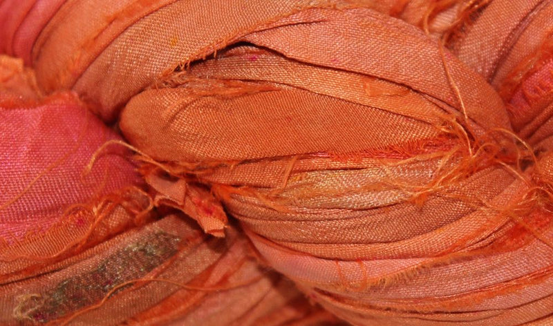 Recycled Sari Silk Ribbon - Sunset