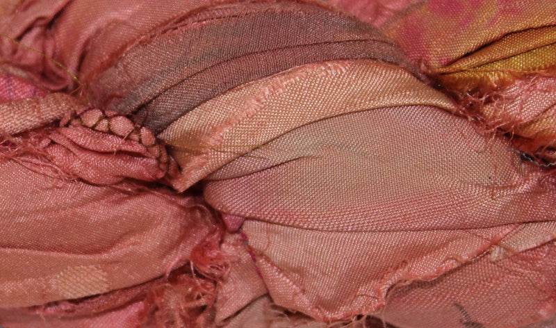 Recycled Sari Silk Ribbon - Rose Garden Pink