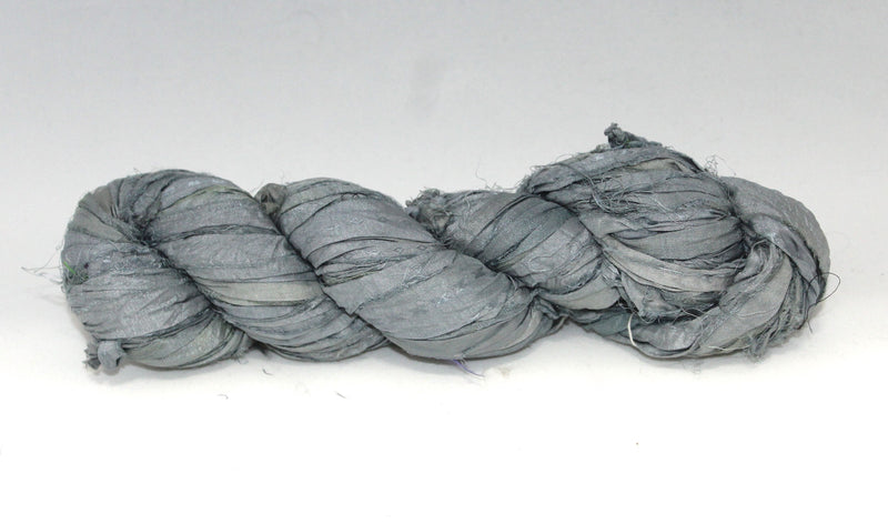 Recycled Sari Silk Ribbon- Light Ash
