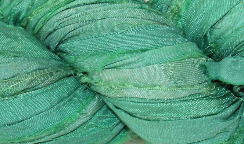 Recycled Sari Silk Ribbon - Teal Green
