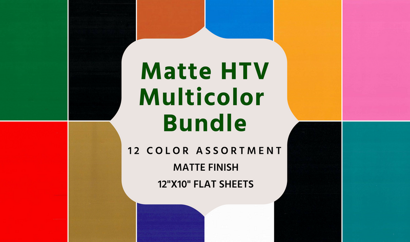 Heat Transfer Fashion FILM Vinyl Multicolor Bundle- 12 Sheets of 10x12 HTV