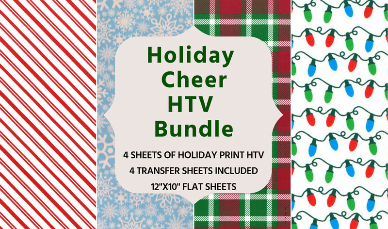 Holiday Pattern Heat Transfer Vinyl Bundle with Carrier Sheets
