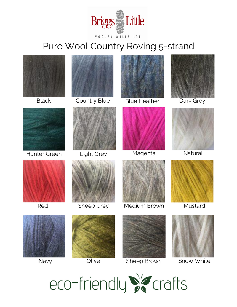 Briggs and Little Pure Wool Country Roving for Knitting, Felting, and Oxford Punch Needle