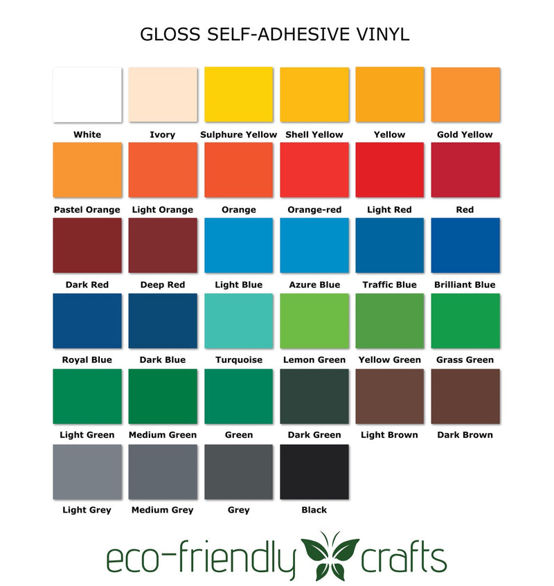 PVC-Free Self Adhesive Vinyl - Permanent Gloss - 34 Color Starter Pack Bundle - 12 in x 12 in Sheets